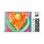 Desayuno del amor en los años 50 sellos