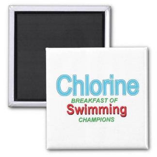 Desayuno del cloro de nadadores imán cuadrado