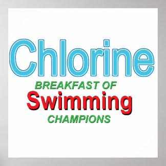 Desayuno del cloro de nadadores posters