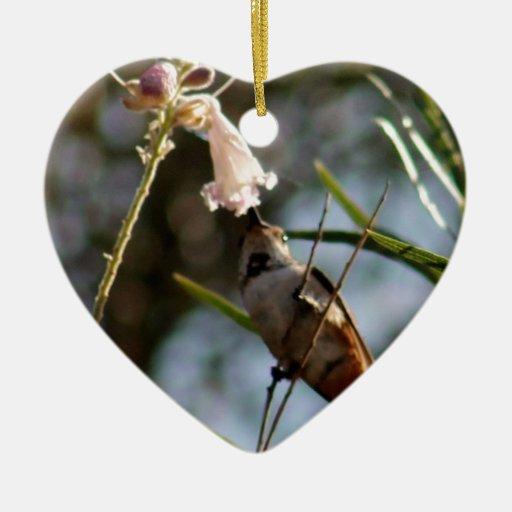 Desayuno del colibrí adorno navideño de cerámica en forma de corazón