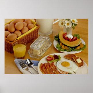 Desayuno del tocino, de huevos y de la jarra de le póster