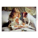 Desayuno en cama: Chica, Terrier y gato del gatito Tarjeta
