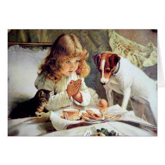 Desayuno en cama: Chica, Terrier y gato del gatito Tarjeta De Felicitación