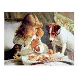 Desayuno en cama: Chica, Terrier y gato del gatito Postales