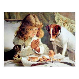 Desayuno en cama: Chica, Terrier y gato del gatito Tarjeta Postal