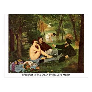 Desayuno en el abierto de Eduardo Manet Tarjeta Postal