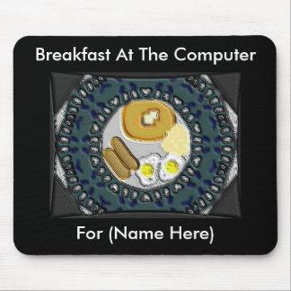 Desayuno en el ordenador Mousepad Tapetes De Ratones