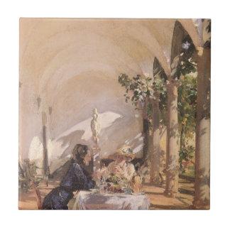 Desayuno en la logia por Sargent, Victorian del Azulejo Cuadrado Pequeño