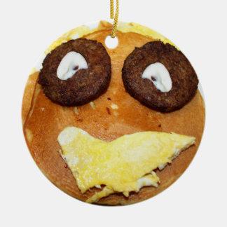 Desayuno feliz de la cara adorno redondo de cerámica