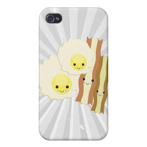 desayuno feliz del kawaii iPhone 4 fundas