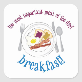 ¡Desayuno! Pegatina Cuadrada