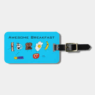 Desayuno, tocino y todo impresionantes etiquetas para maletas