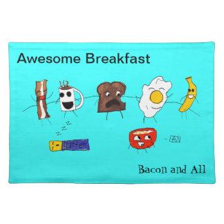 Desayuno, tocino y todo impresionantes mantel individual