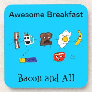 Desayuno, tocino y todo impresionantes posavaso