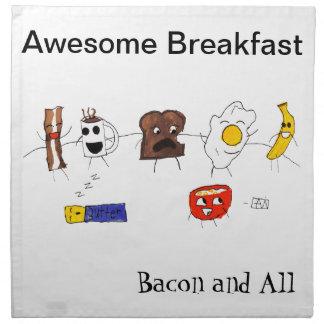 Desayuno, tocino y todo impresionantes servilletas