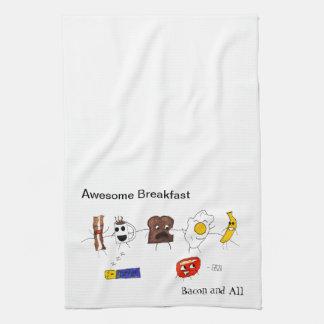 Desayuno, tocino y todo impresionantes toalla
