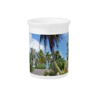 Desayuno tropical de la cama de la playa jarrones