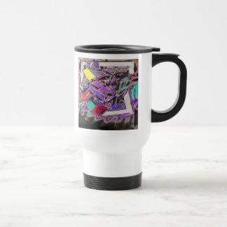 Desbloqueo - extracto en púrpuras y azules y rojos taza de café