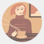 Descanso para tomar café etiqueta redonda