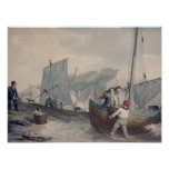 Descarga de los barcos de pesca posters