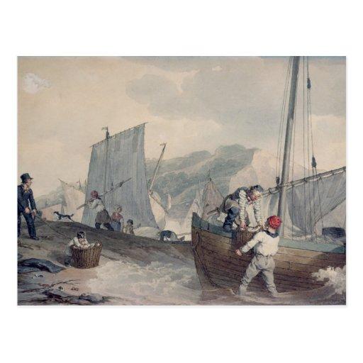 Descarga de los barcos de pesca tarjetas postales