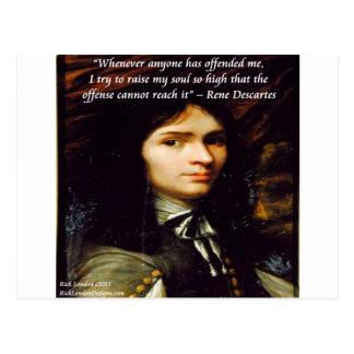 """Descartes """"aumento cita famosa de mi alma"""" tarjeta postal"""