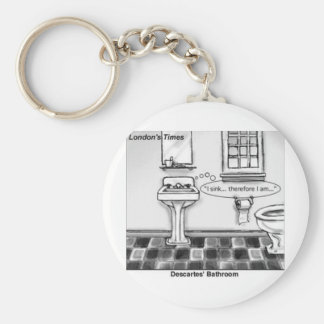 Descartes' Bathroom Funny Tees Mugs Cards & Gifts Basic Round Button Keychain