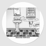 Descartes' Bathroom Funny Tees Mugs Cards & Gifts Classic Round Sticker
