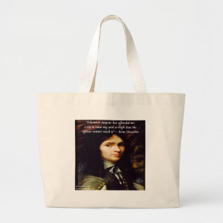 "Descartes ""Raise My Soul"" Famous Quote Large Tote Bag"