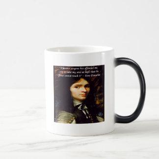 """Descartes """"Raise My Soul"""" Famous Quote Magic Mug"""