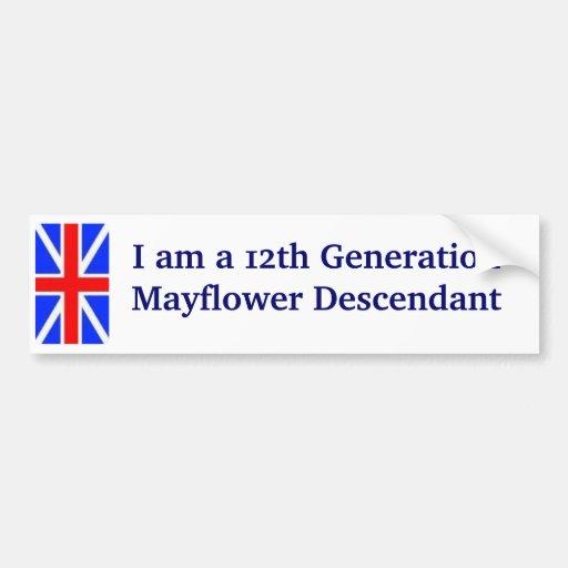 Descendiente -12th de Mayflower Pegatina De Parachoque