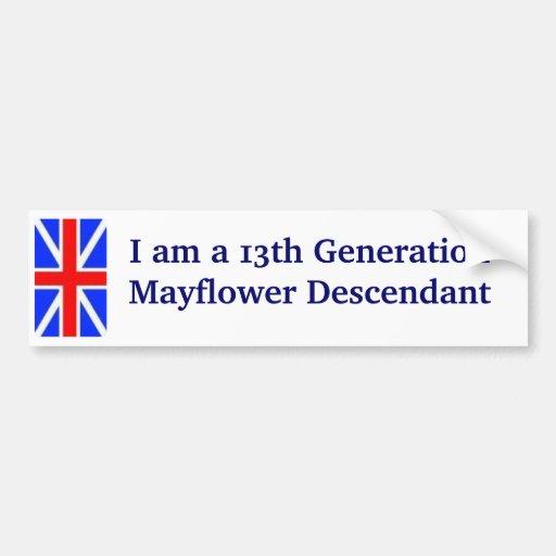 Descendiente -13th de Mayflower Pegatina De Parachoque