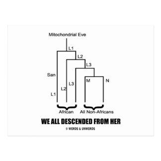 Descendimos todo de ella (Eve mitocondrial) Tarjeta Postal