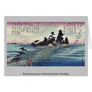 Descending geese at Haneda by Ando, Hiroshige Greeting Card