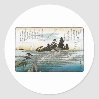 Descending Geese at Haneda, c. 1837-38. JAPAN. Classic Round Sticker