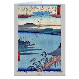 Descending geese at Katada by Ando, Hiroshige Ukiy Stationery Note Card