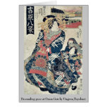Descending geese at Omon Gate by Utagawa,Toyokuni Stationery Note Card