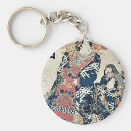 Descending geese at Omon Gate by Utagawa,Toyokuni Basic Round Button Keychain