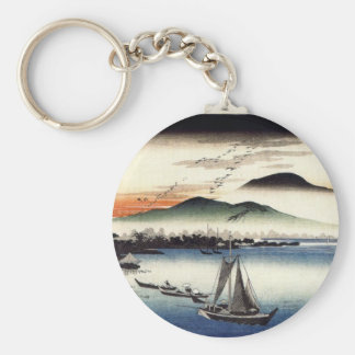 Descending Geese, Katata by Ando Hiroshige Keychain