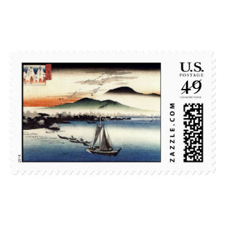 Descending Geese Katata by Ando Hiroshige Stamp