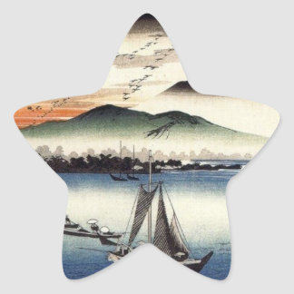 Descending Geese, Katata by Ando Hiroshige Star Sticker