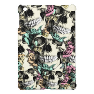 Descending rose skulls with butterflies. cover for the iPad mini