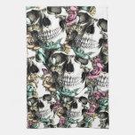 Descending rose skulls with butterflies. towels