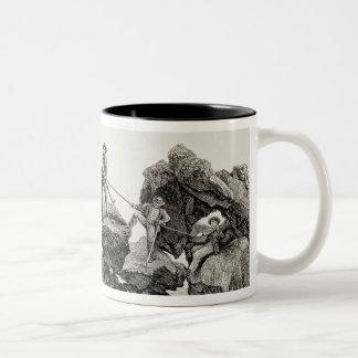 Descending the Western Arete of the Pointe des Ecr Two-Tone Coffee Mug