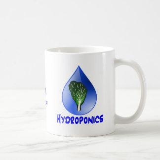Descenso azul del lema del hidrocultivo con el grá taza