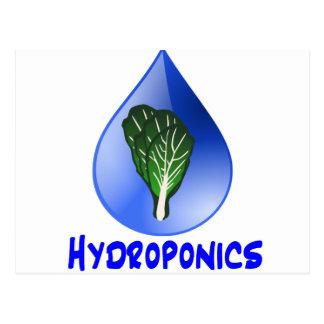 Descenso azul del lema del hidrocultivo con el postal