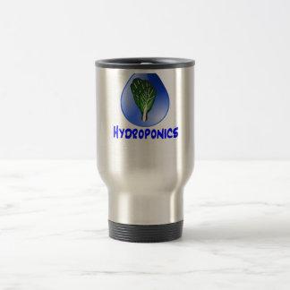 Descenso azul del lema del hidrocultivo con el taza de viaje