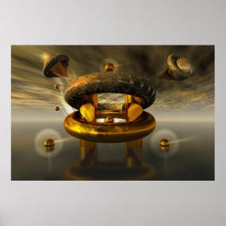 Descenso de la fuente de la estación espacial póster