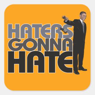 Descenso de Obama Mic - enemigos que van a odiar Pegatina Cuadrada