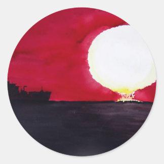Descenso de Sun Etiquetas Redondas